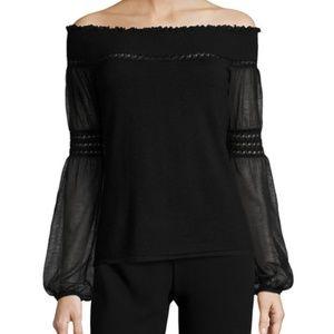 Elie Tahari Rita Sweater Off Shoulder Black S NWT